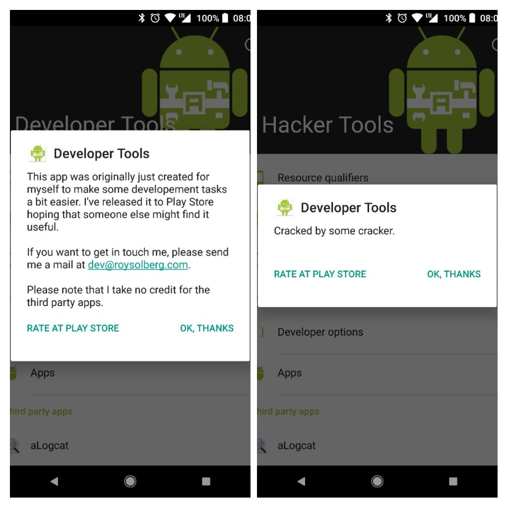 Guide how to crack android apps blogysolberg the regular developer tools app on the left and the cracked one on the right baditri Choice Image